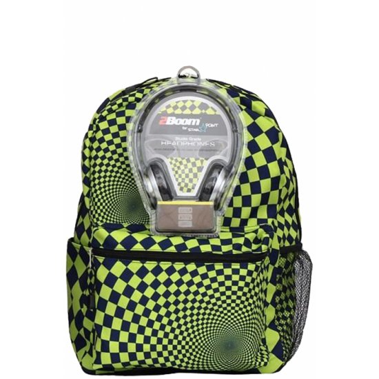 """AmericanKids Backpack """"Hypnocheck Lime"""" + headphones"""