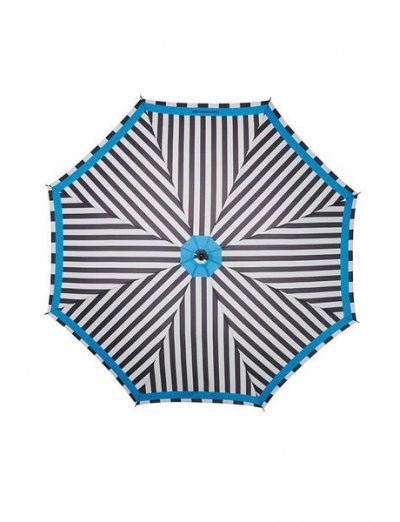 R-Pattern Umbrella STICK Black/White Stripes/Light Blue - Ladies umbrella