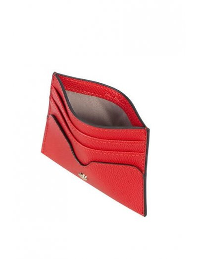 Wavy Slg Credit Card Holder Red - Leather wallets