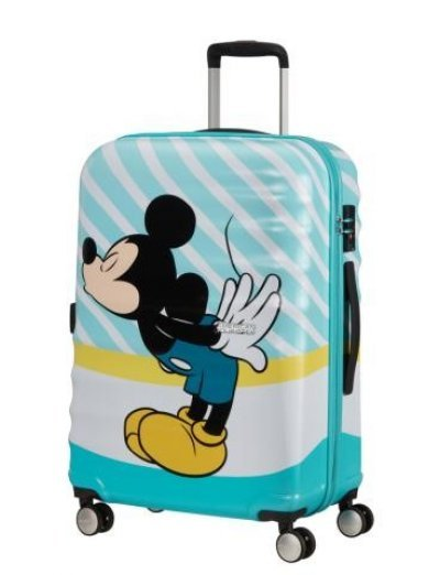 АТ 4-wheel 67cm Spinner suitcase Wavebreaker MICKEY BLUE KISS - Product Comparison