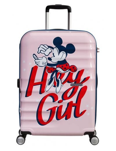 АТ 4-wheel 67cm Spinner suitcase Wavebreaker MINNIE DARLING PINK - Kids' suitcases