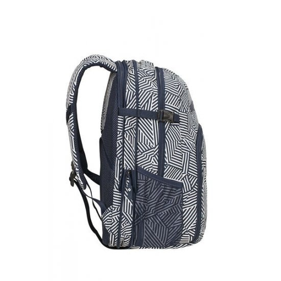 Rewind Laptop Backpack L Expandable 16inch Navy Blue Stripes