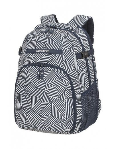 Rewind Laptop Backpack L Expandable 16inch Navy Blue Stripes - Duffles and backpacks