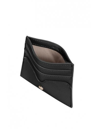 Wavy Slg Credit Card Holder Black - Men's leather wallets