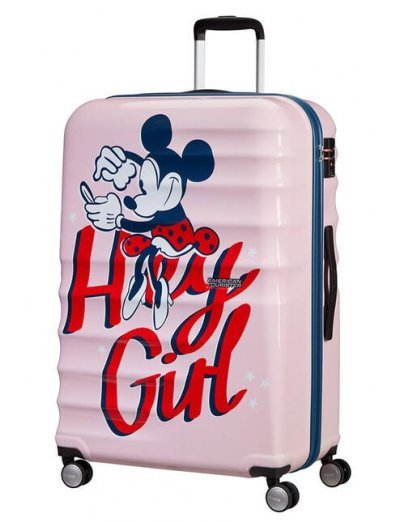 АТ 4-wheel 77cm Spinner suitcase Wavebreaker MINNIE DARLING PINK - Kids' suitcases