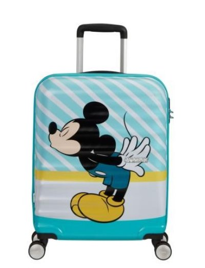 АТ 4-wheel 55cm Spinner suitcase Wavebreaker MICKEY BLUE KISS - Product Comparison