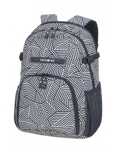 Rewind Laptop Backpack M 15.6inch Navy Blue Stripes - Duffles and backpacks