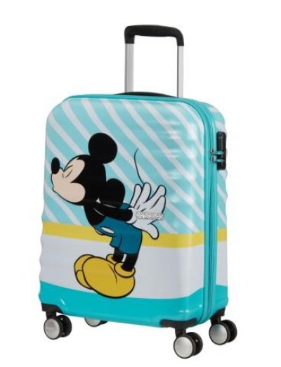 АТ 4-wheel 55cm Spinner suitcase Wavebreaker MICKEY BLUE KISS - Hardside suitcases