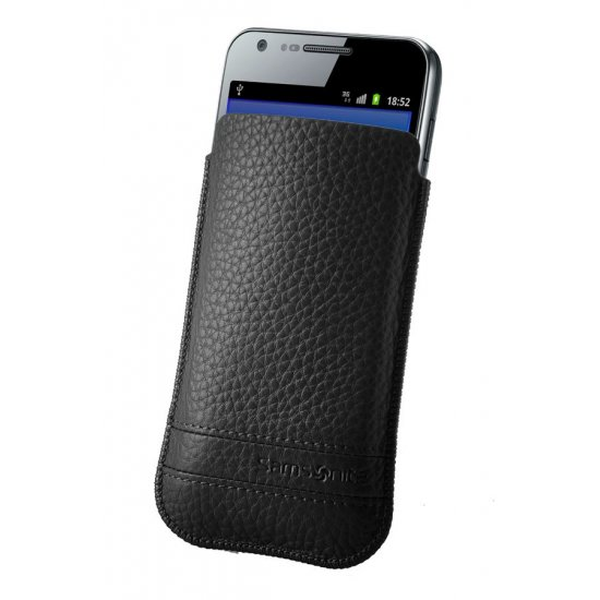 Black case for a phone made of Full leather L Slim Classic leather