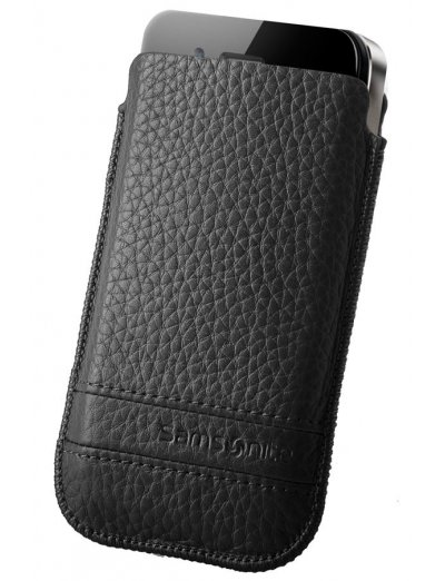 Black case for a phone made of Full leather M Slim Classic leather - Slim Classic Leather