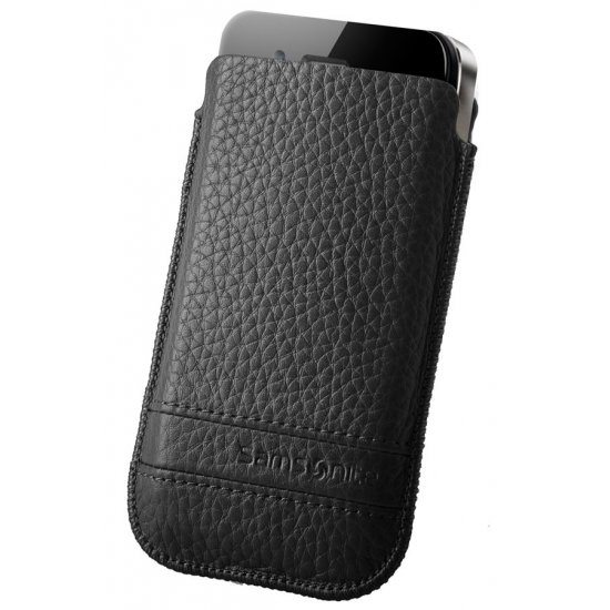 Black case for a phone made of Full leather M Slim Classic leather