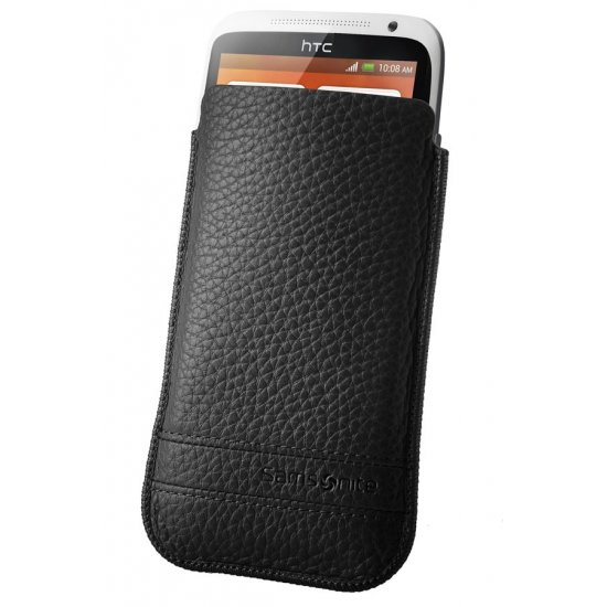 Black case for a phone made of Full leather XL Slim Classic leather