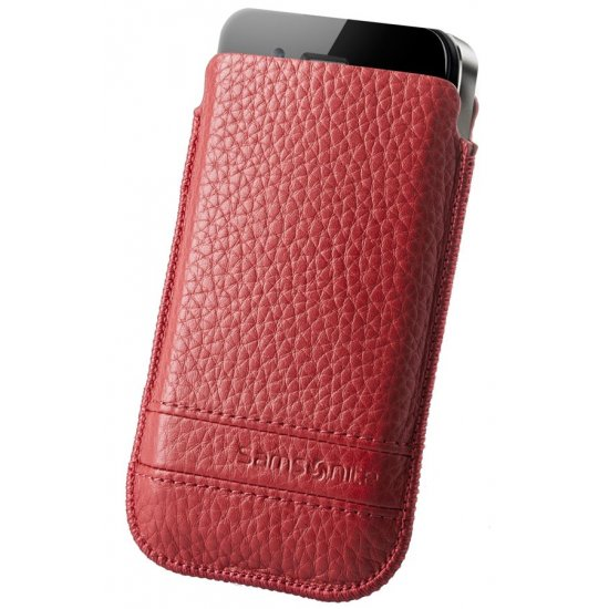 Red case for a phone made of Full leather M Slim Classic leather