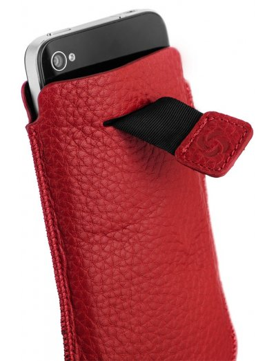 Red case for a phone made of Full leather M Slim Classic leather - Outlet section