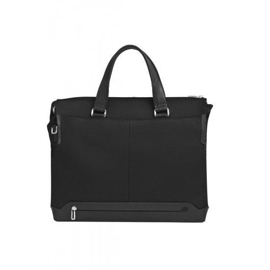 """Дамска бизнес чанта 15.6""""  S-OULITE  в черен цвят  и елементи от кожа"""