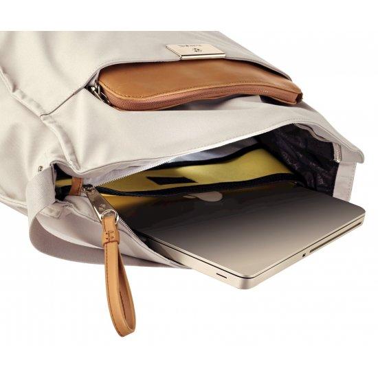 Дамска бизнес чанта през рамо Lady Biz II цвят сребърно сиво
