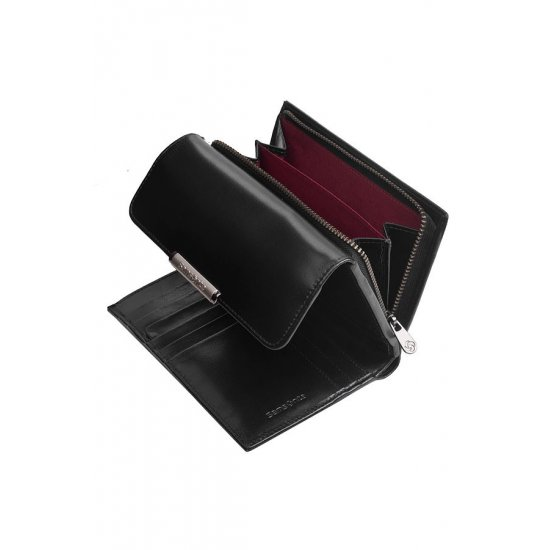 Elegant black women's wallet from full leather with 12 sections for business cards, series U88.09.303