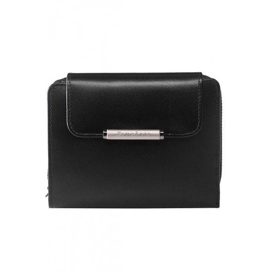 Black women's wallet from full leather with 8 sections for business cards, series U88.09.303