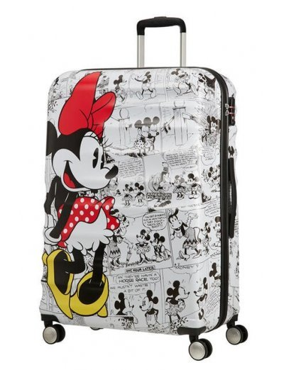 АТ 4-wheel 77cm Spinner suitcase Wavebreaker MINNIE COMICS WHITE - Kids' suitcases