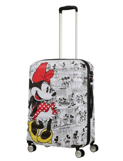 АТ 4-wheel 67cm Spinner suitcase Wavebreaker MINNIE COMICS WHITE - Kids' suitcases