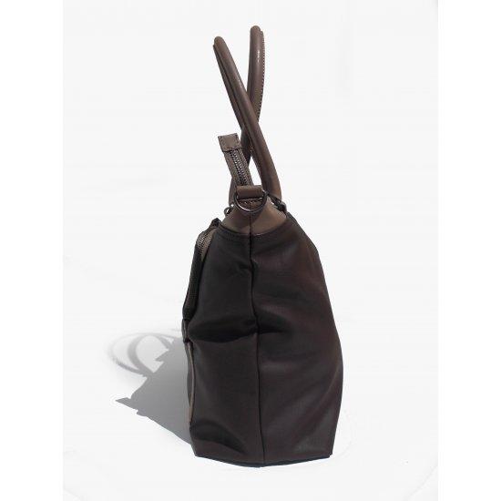 Голяма вертикална дамска чанта Park Icon в цвят тъмен и млечен шоколад