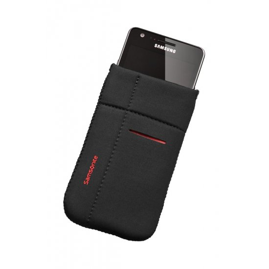 Mobile phone case Airglow, size L, Black with red welt