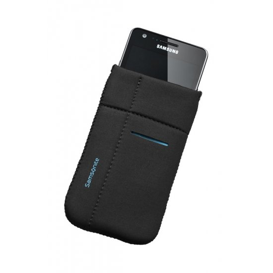 Mobile phone case Airglow, size L, Black with blue welt