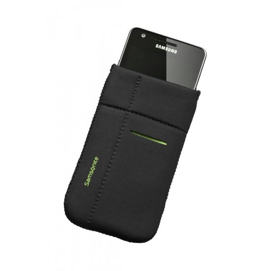 Mobile phone case Airglow, size L, Black with green welt