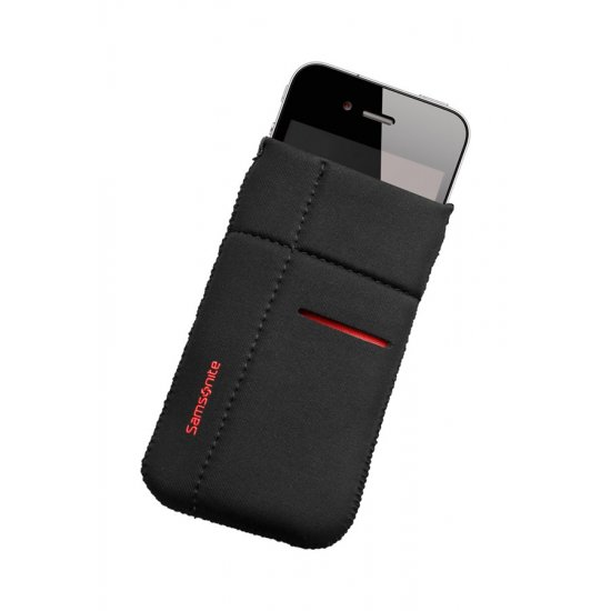 Mobile phone case Airglow, size M, Black with red welt