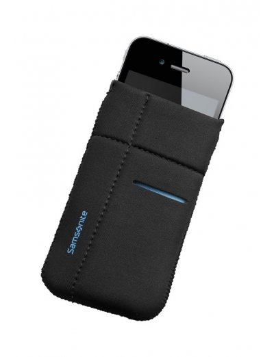 Mobile phone case Airglow, size M, Black with blue welt - Outlet section