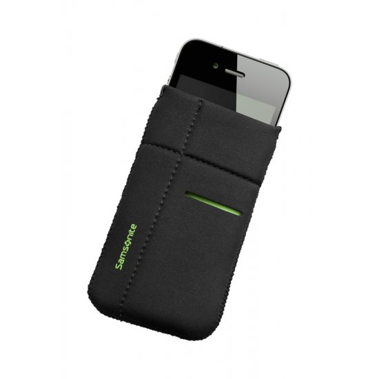 Mobile phone case Airglow, size M, Black with green welt