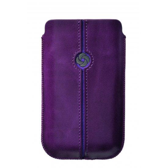 Калъф за iPhone 5 от естествена кожа Dezir Swirl лилав цвят