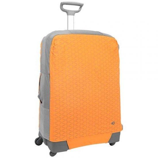 Калъф за съхранение на куфар, размер М - за куфари с височина 65 - 75 см оранжево на фигурки