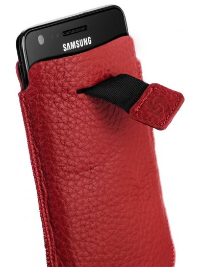 Red case for a phone made of Full leather L Slim Classic leather - Phone cases
