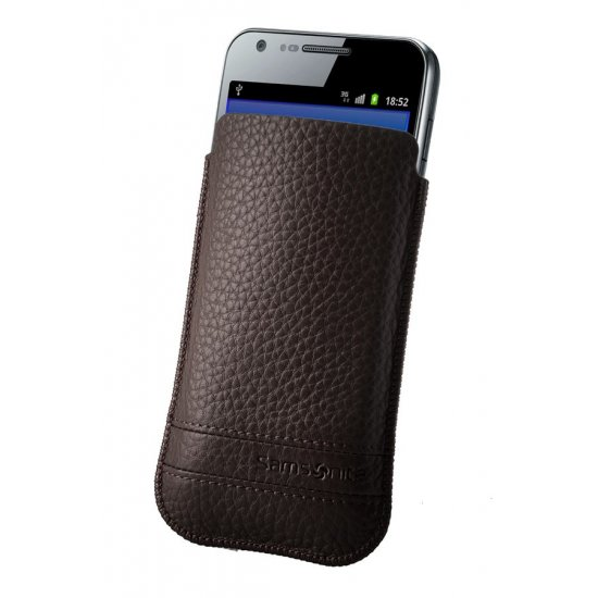 Brown case for a phone made of Full leather L Slim Classic leather