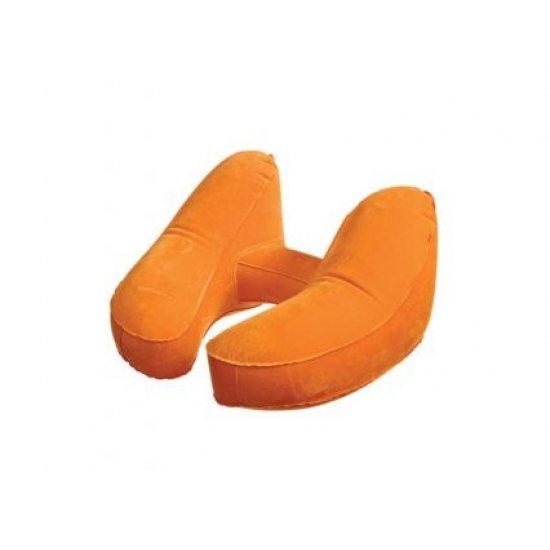 Комфортна надуваема възглавничка за път с калъфче оранжев цвят