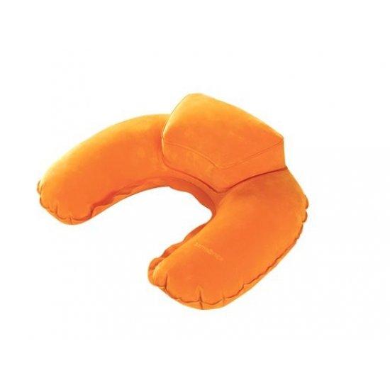 Луксозна надуваема възглавничка за път с калъфче оранжев цвят