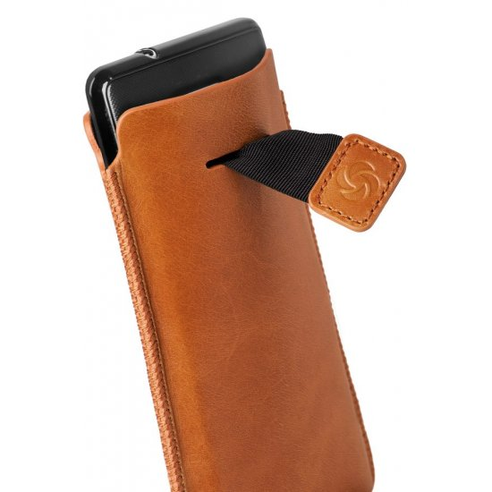 Orange case iPhone 5 made of Full leather size L Dezir Swirl