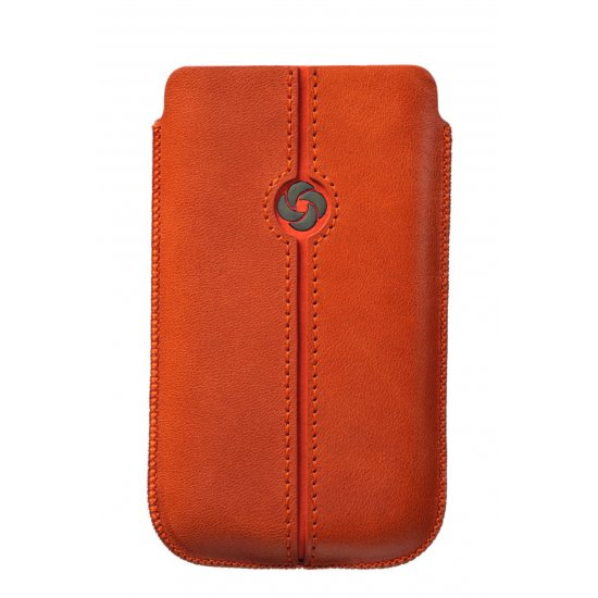 Orange case iPhone 5 made of Full leather Dezir Swirl