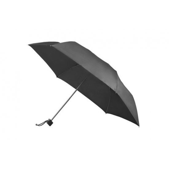 5 section manual folding umbrella metallic black