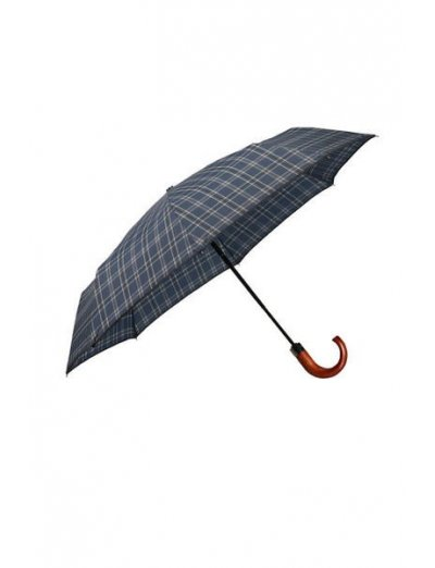Wood Classic S 3 Sect. Auto O/C Crook - Foldable Black/Blue Scottish - Umbrellas