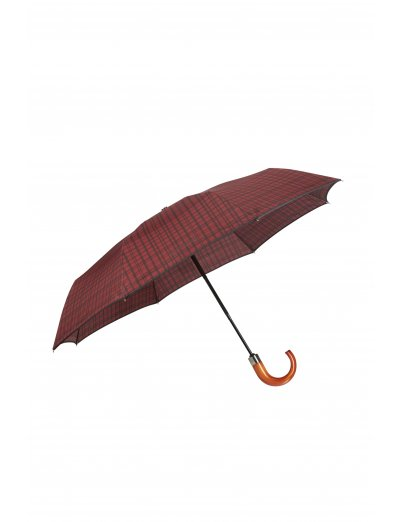 Wood Classic S 3 Sect. Auto O/C Crook - Foldable Bordeaux Scottish - Umbrellas