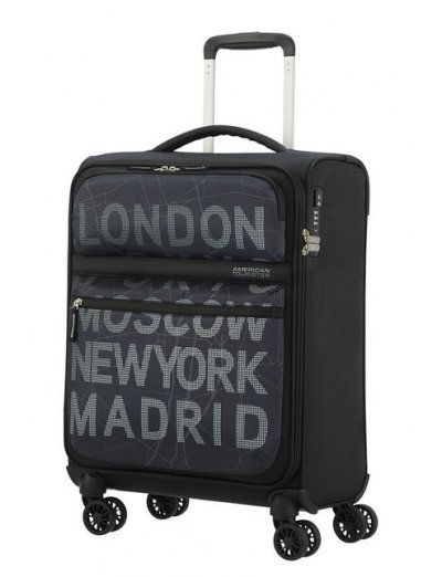 MatchUP Spinner (4 wheels) 55cm City Map Black - Softside suitcases