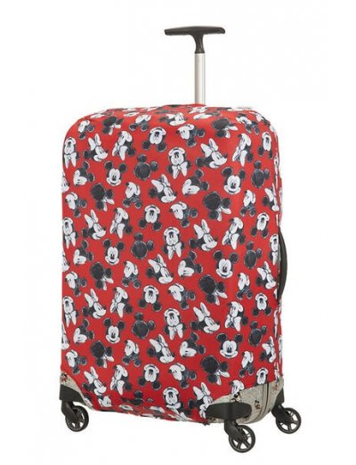 Travel Accessories Luggage Cover M/L - Spinner 86cm Mickey/Minnie Red - Luggage cover including address labels