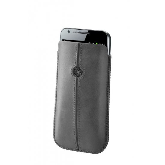 Gray case iPhone 5 made of Full leather size L Dezir Swirl