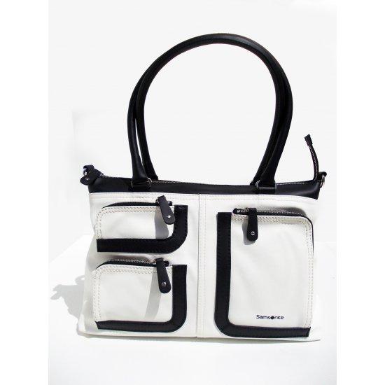 Средна вертикална дамска чанта Park Icon в млечно бяло и черно