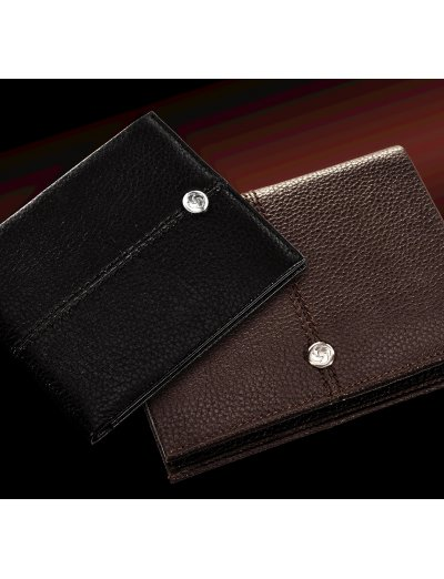 Stylish, black ladie's wallet made out of full leather, model: F66.09.304 - Outlet section