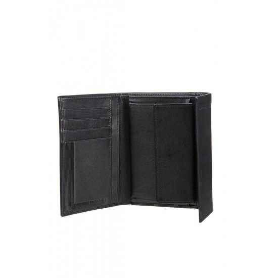 Stylish black ladie's wallet from full leather wtih 4 sections