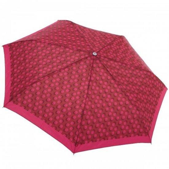 Тройно сгъваем автоматичен чадър в червен цвят на точки