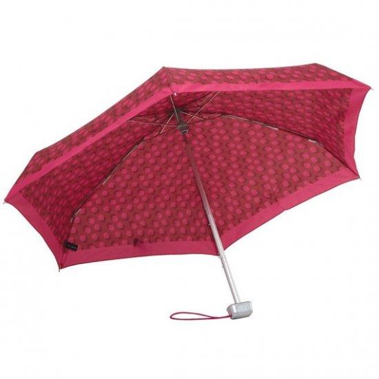 Тройно сгъваем ръчен чадър в червен цвят на точки
